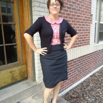 Violet Blouse and Black Pencil Skirt https://anelementallife.wordpress.com/2011/06/02/me-made-june-day-1/